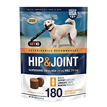VetIQ Hip & Joint Supplement for Dogs Chicken Flavored Soft Chews 180 Count