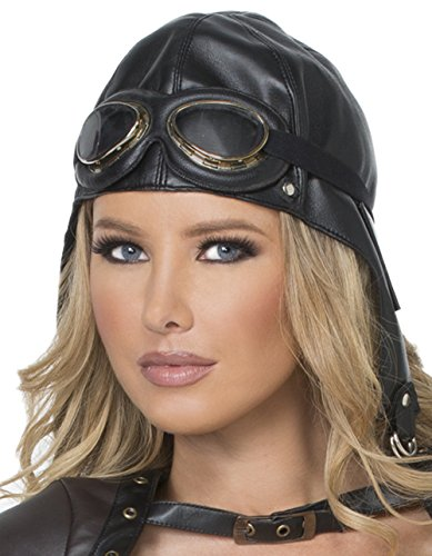 Mystery House Pilot Hat with Goggles Black