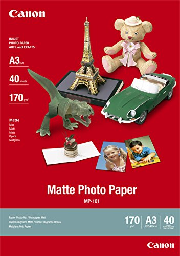Canon Fotopapier MP-101 matt weiß - (DIN A3 40 Blatt) für Tintenstrahldrucker - PIXMA Drucker (170 g/qm)