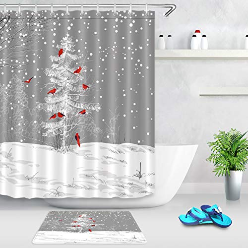 LB Winter Holiday Theme Christmas Shower Curtain Snowflakes Cardinals Bird on Snowy Christmas Tree Shower Curtain Unique New Year Bathroom Curtains for Kids 60x72 Inch Polyester Fabric with 10 Hooks