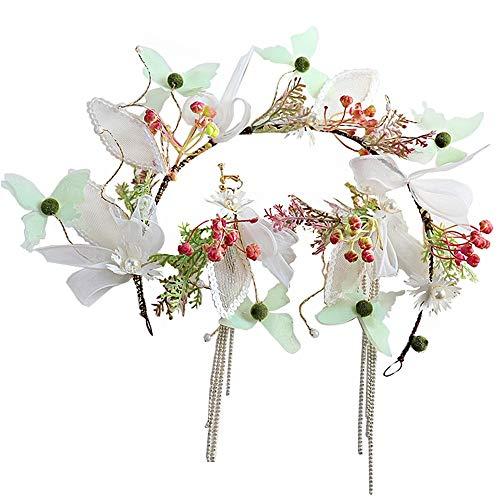 Ppzmd Headwears Corona di Fiori, Ghirlanda con orecchino per Feste di Matrimonio Compleanno Regalo Fascia Floreale Fresca Nuovo Headwear (Color : Q)
