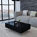Modern Coffee Table, Contemporary Rectangle Design Living Room Furniture, High Gloss Surface Cocktail End Table, Center Table for Sofa or Upholstered Chairs, 33.5''x21.6''x12''