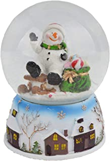 Lightahead Musical Christmas Snow Globe with Falling Snowflakes & Music Playing (Snowman)
