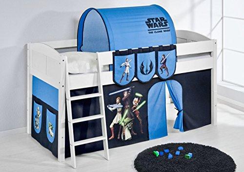 Lilokids Lit Mezzanine IDA 4106 Star Wars The Clone - Système de lit évolutif Convertible Blanc - avec Rideau