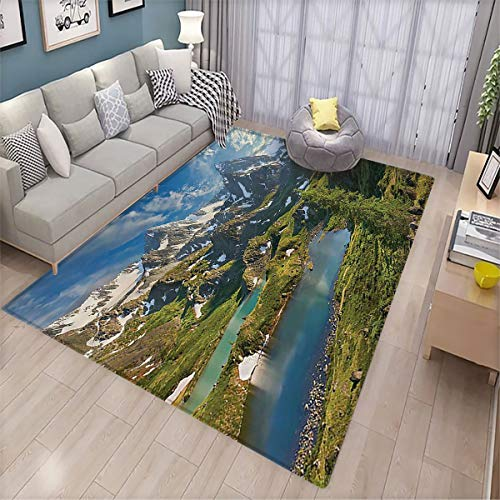 Gift Floor mat,Cottage Decor Collection Siberia Altai Mountains Katun Ridge High Snowy Peaks with Skirts Grass Covered View,Non-Slip Decoration of Floor mats for Patio Doors 170x260cm