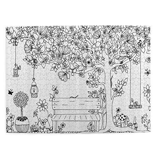 MAYUES Rompecabezas Puzzle 500 Piezas Árbol Floral con linternas, Mariposas y Columpio en el jardín Ilustración de Espacio de ensueño Inteligencia Jigsaw Puzzles para Adultos Niños Juegos