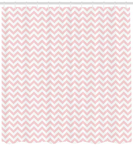 ABAKUHAUS Rose Duschvorhang, Zickzack-Chevron-Muster, mit 12 Ringe Set Wasserdicht Stielvoll Modern Farbfest & Schimmel Resistent, 175x200 cm, Weiß & Puder Rosa