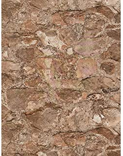 York Wallcoverings PA130902 Weathered Finishes Field Stone Wallpaper, Slate Blue/Terra Cotta/Amber/Pale Grey/Silver