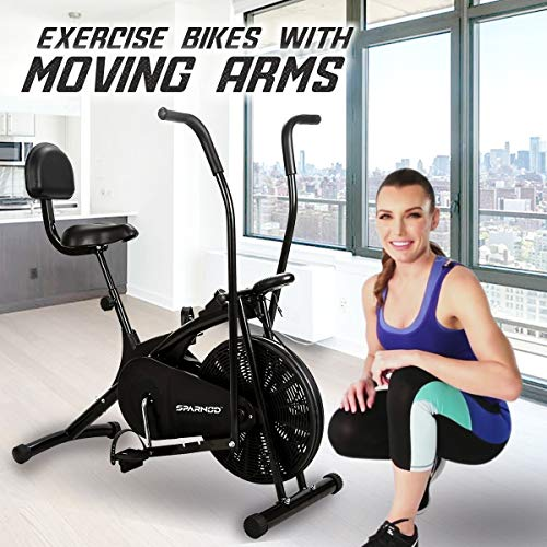 Sparnod Fitness SAB-05 Air Bike Exercise Cycle for Home Gym - Dual Action for Full Body Workout (Setting for Moving/Stationary Handles) - Adjustable Resistance, Height Adjustable seat with Back Rest (Do It Yourself Installation)