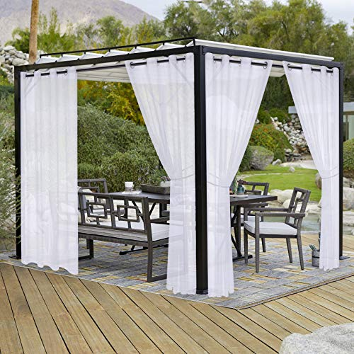 LORDTEX Burlap Linen Look Outdoor Curtains for Patio - 2 Panels Waterproof Sheer Curtains for Pergola, Porch, Cabana and Gazebo Grommet Indoor/Outdoor Voile Sheer Drapes (52 x 95 inch, White)