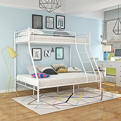 Panana Metal Triple Bunk Bed, 3ft Single and 4ft6 Double Bed Frame with Enhanced Upper-Level Guardrail (White)