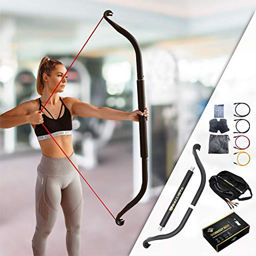 Ballista Bow: Workout Bow - Portable Home Gym Resistance Bands Fitness Equipment System, Weightlifting Training Kit, Full Body Workouts, Portable Upper Body Workout Equipment (Travel Bow Full Set)