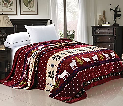 Home Soft Things Light Weight Christmas Collection Flannel Fleece Blanket, Twin, Burgundy Christmas Deer, 90' x 60'