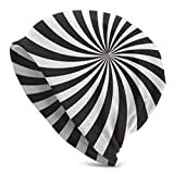 Beanie Mütze Weiß Schwarz Wirbel Design Gedruckt Skull Cap Helm Liner