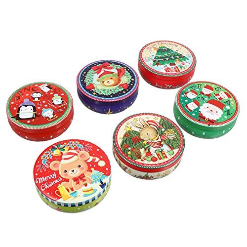 HEMOTON 6 Unidades de Hojalata de Navidad Caja de Dulces Galletas Dulces Dulces Caja de Dulces Patrón de Navidad Contenedor de Dulces Fiesta de Vacaciones Bote de Lata