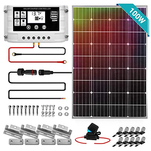 SereneLife 100W Solar Panel Starter Kit Kit-12v Monocrystalline Portable Mono 3 ft 11AWG Cable Set, 30A PWM Controller w/LCD Screen-Van Campers, Car Roof, Boat SLSPSKT100, Van Campers, Car Roof, Boat