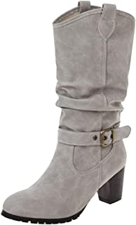 VulusValas Women Pull On Mid Calf Boots