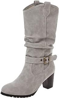 VulusValas Women Pull On Mid Calf Boots