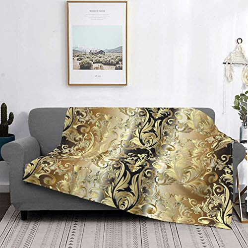 Throw Blanket Lightweight Ultra-Soft,Damask Gold Floral 3D Vintage Flowers Leaves And Antique Ornaments Baroque Ornamental,Microfiber All Season Living Room/Sofa Couch Bed Flannel Quilt,60' X 50'