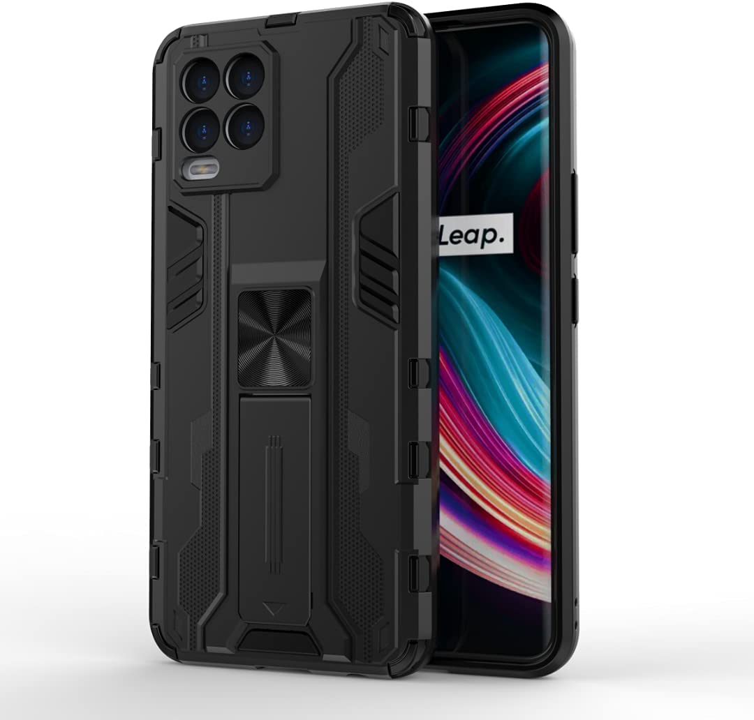جراب FTRONGRT لهاتف Samsung Galaxy F42 5G، قوي ومقاوم للصدمات، مع حامل هاتف محمول، مع أداة تعليق مغناطيسية للسيارة، غطاء لسامسونج جالاكسي F42 5G - أسود