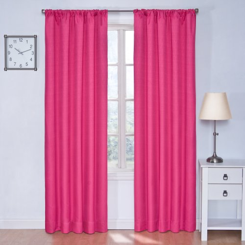 "ECLIPSE Kendall Solid Blackout Window Curtains for Bedroom (Single Panel), 42"" x 63"", Raspberry"