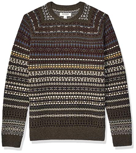 Amazon Brand - Goodthreads Men's Lambswool Stripe Crewneck Sweater, Geo Fair Isle X-Large