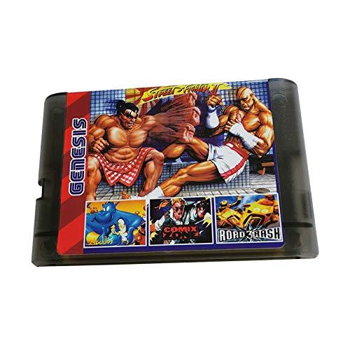 Super Games 196 in 1 for Sega Genesis - Mega Drive 16 Bit Multi Cartridge (Transparent Black)