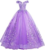 EileenDor Women's Quinceanera Dresses Lace Appliques Off Shoulder Ball Gown Sweet 16 Dresses with Pearl Plus Size US24 Violet
