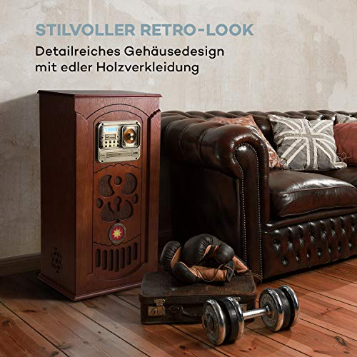 auna Musicbox Jukebox - Retro-Stereoanlage, Musikanlage, Plattenspieler, MP3-fähiger CD-Player,LED-Beleuchtung, Bluetooth, SD, USB, UKW-Tuner, AUX-In, Holz, inkl. Fernbedienung, braun