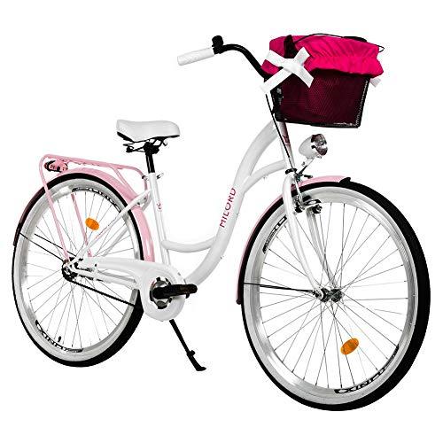 Milord. 28 Zoll 1-Gang Weiß Rosa Komfort Fahrrad mit Korb Hollandrad Damenfahrrad Citybike Cityrad Retro Vintage