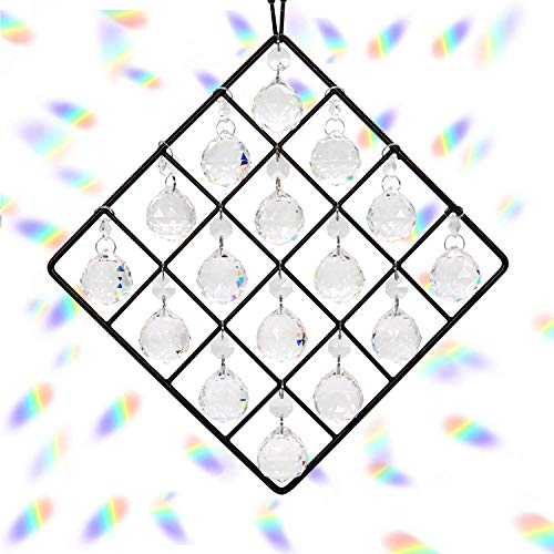Hey_you 16-Pack Klarglas Kristallkugel Prismen Anhänger Regenbogen Maker Hängende Sonnenfänger mit Kette für Fenster Sonnenfänger Garten Home Decoration