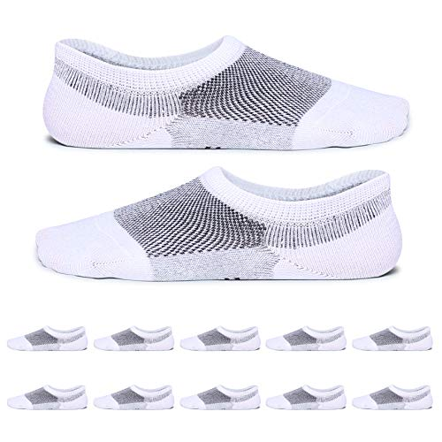 YouShow calcetines hombre mujer invisibles 10 Pares Anti-olor antideslizantesdeportivos calcetines cortos(Blanco,39-42)