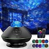 TATE GUARD LED Sternenhimmel Projektor,Ozeanwellen-Sternenlicht Projektor,10 Farben,Wifi/Bluetooth Musikspieler/Fernbedienung/Bluetooth/So&steuerung/Timer,für Kinder,zimmer,Party Dekoration schwarz
