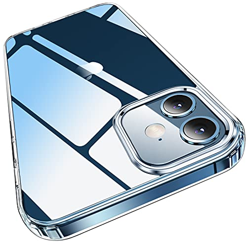Elando Crystal Clear Case Compatible with iPhone 12/12 Pro, Non-Yellowing Shockproof Protective Phone Case Slim Thin