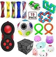 EDsports 19 Pack Sensory Fidget Toys Set-Bike Chain,Marble Fidget Toys,Rainbow Magic Sensory Balls,Squeeze-a-Bean...