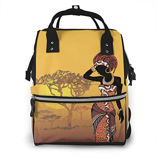 JUKIL Sac à dos à couches Beautiful African Woman in The Sunset Design Fashion Diaper Bags Mummy Backpack Multi Functions Large Capacity Nappy Bag Nursing Bag for Baby Care for Traveling