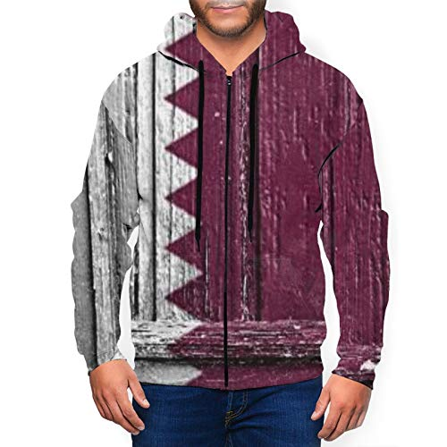 Flag of Qatar Painted On Wooden Frame Mens Full-Zip Jacket Hooded Sweatshirt with Pockets for Daily Wear Black