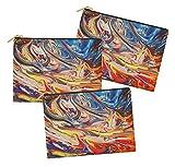 Timingila Abstracto Multicolor Impreso Maquillaje cosmético del Bolso Monedero de Tocador Organizador-Pack de 3 Piezas 6 x 8 Pulgadas