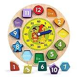 Reastar Lernuhr Uhr-Spielzeug aus Holz Lernspiel aus Holz Kinderspielzeug Lernuhr Montessori Spielzeug mit Seil, Zahl und Tier Muster - Pädagogisches Lernen Spielzeug für Kinder ab 3 Jahren