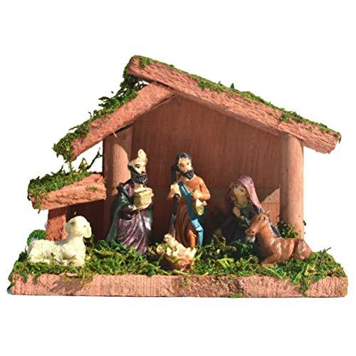 Delaspe Figura de Belén de Navidad de resina de madera para decoración del hogar