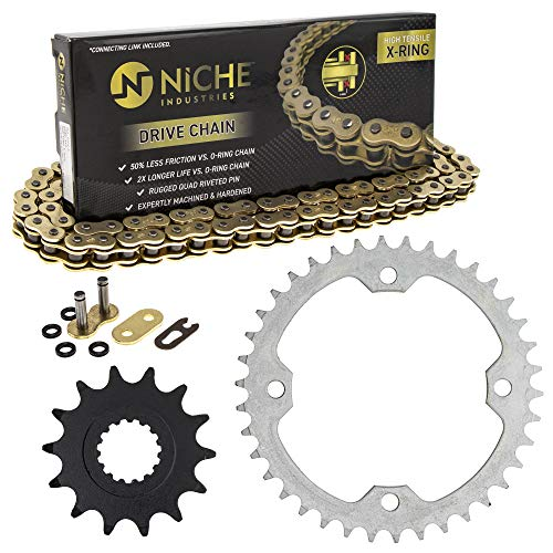NICHE Drive Sprocket Chain Combo for Yamaha Raptor 700 YFZ450R Front 14 Rear 38 Tooth 520V-X X-Ring 98 Links