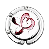 Cuore con vino rosso rovesciato in bicchieri Amore romantico San Valentino Concetto Pieghevole Borsa da donna Tavolo da scrivania Appendiabiti Gancio Borsa da tavolo Hange
