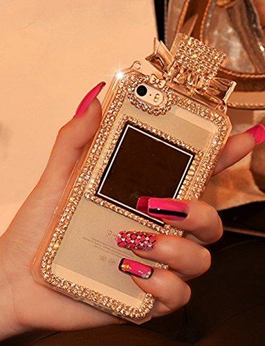 Sasa (TM) - Funda para iPhone 7 Plus (5.5 pulgadas), diseño de botella de perfume con cristales brillantes, color blanco