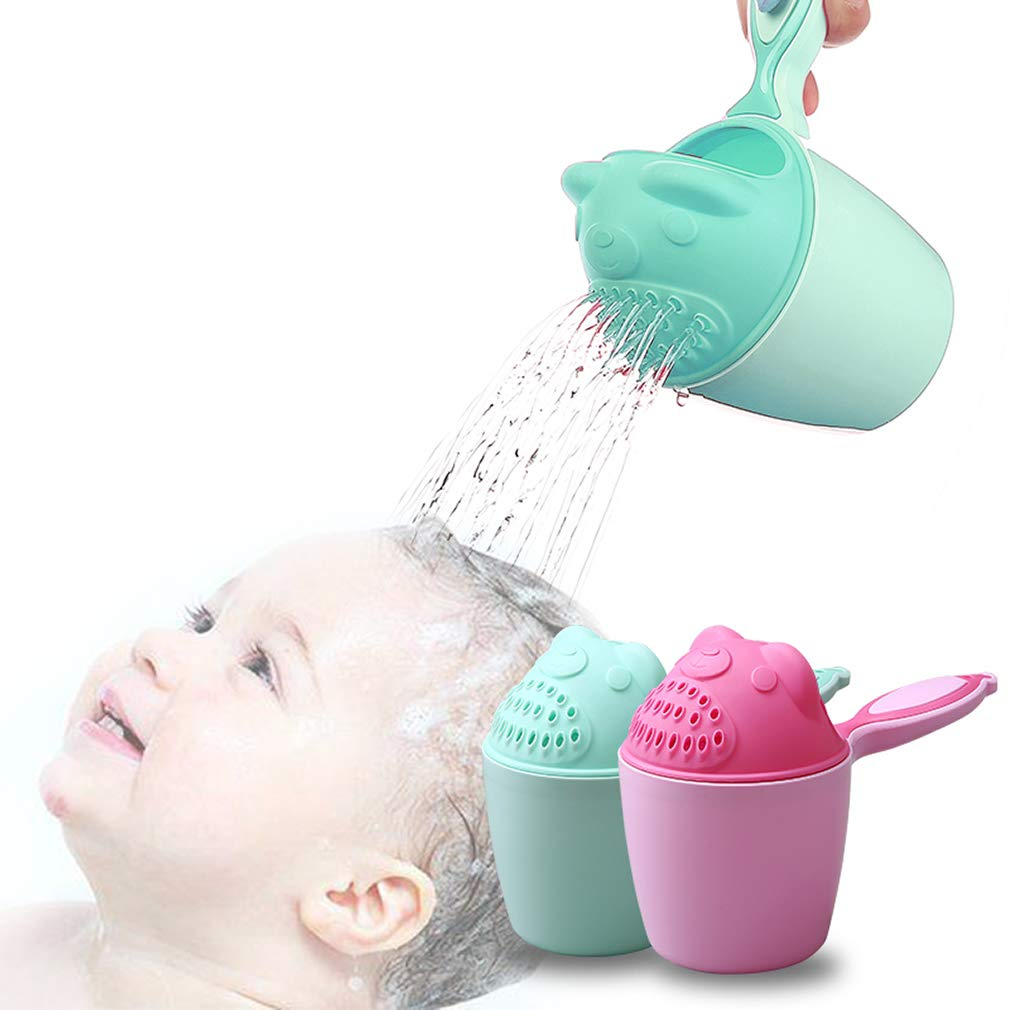 Rinse Shampoo Rinser Baby Rinse Cup Baby Bath Rinser Wash Hair Cup by Protecting Infant Eyes (Green)