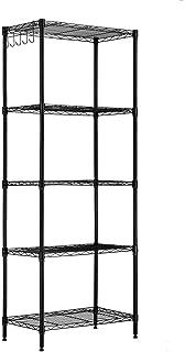 LANGRIA メタルラック 5段 スチール製 メタルシェルフ スチールシェルフ ワイヤーラック 大容量 ステンレス製 耐久 防錆 傷つきにくい おしゃれ 省スペース棚耐荷重125kg 幅60×奥行35×高さ150cm ブラック