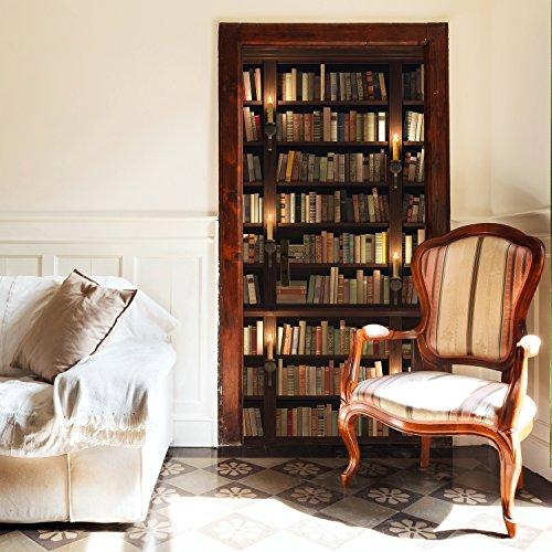 murimage Türtapete Bücherregal 86 x 200 cm inklusive Kleister Alte Bücher Bibliothek Regal Bücherei Antik Kerzen Rustikal Tapete Fototapete