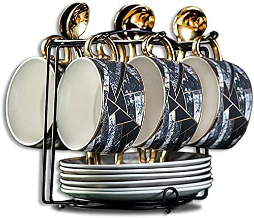 Set de seis tazas y platillos de café, taza de té y platillo, 6 onzas (alrededor de 200 ml) taza de café espresso con 6 cucharaditas de platillo, taza de café Latte