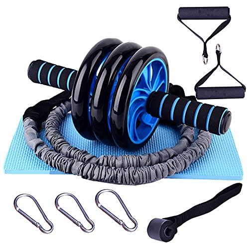 Juego de ruedas Ab Roller Rodillo de rueda abdominal con bandas de resistencia para rodilleras para ejercicios de entrenamiento de gimnasio en casa
