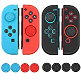 Protective Case Compatible with Nintendo Switch Joy-Con Controller Anti-slip Silicone Comfortable Grips Anti-Scratch Shock-Absorption Protective Cover with 8 Thumb Stick Pads (Black, Blue, Red)