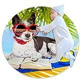 Alfombra redonda, felpudos, alfombra,Perro Beagle leyendo en la...